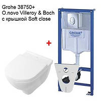 Комплект Инсталляция  с унитазом, Grohe Rapid SL 38750001+Villeroy&boch O.novo 5688H101