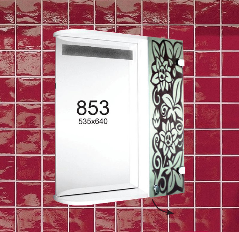 """Навесной шкафчик с зеркалом и подсветкой (зеркальный шкаф) м""""853"""""""
