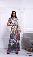 Платье шифоновое длинное летнее в цветочный принт, 42-46 р