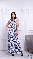 Платье длинное синее льняное летнее с цветочным принтом, 42-50 р