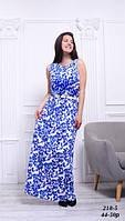 Платье длинное льняное голубое летнее с цветочным принтом, 42-50 р