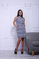Платье штапельное короткое синее с абстрактным принтом, 42-50 р