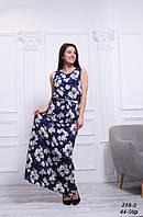 Платье синее льняное летнее в пол с цветочным принтом, 42-50 р