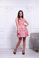 Платье парчовое розовое летнее с принтом розы, 42-48 р
