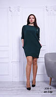Платье мод. 356-1 льняное зеленое летнее, 48-54 р