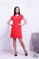 Платье льняное красное стройнящее фигуру, 44-50 р