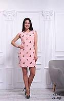 Платье розовое льняное с вышивкой, 42-48 р