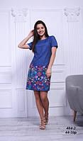 Платье джинсовое стройнящее с вышивкой, 44-50 р