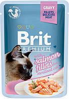 111254 Brit Premium Кусочки из филе лосося в соусе для стерилизованных кошек, 85 гр