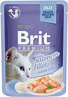 111242 Brit Premium Кусочки из филе лосося в желе, 85 гр