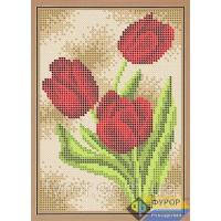 Ткань с рисунком для вышивки бисером Тюльпаны (полная зашивка)