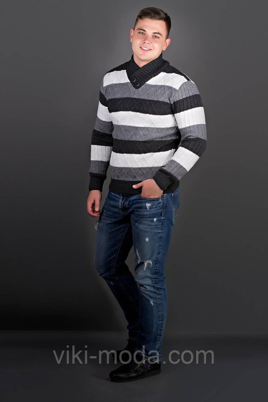 Мужской свитер Рубин полоска (черный)