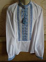 """Чоловіча сорочка-вишиванка """"Полуботок"""", на білому попліні,  ручна робота,розмір 54"""