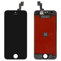 Дисплей  iPhone 5S, iPhone SE, черный, с сенсорным экраном, с рамкой,