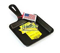 Сковорода чавунна порційна (13х13см, h-2,2 см) з чавунною ручкою Lodge (США) L5WS3, фото 1
