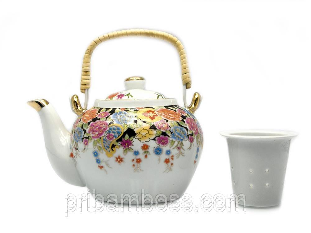 """Чайник фарфор з бамбуковою ручкою (750мл.) """"Квіти"""""""