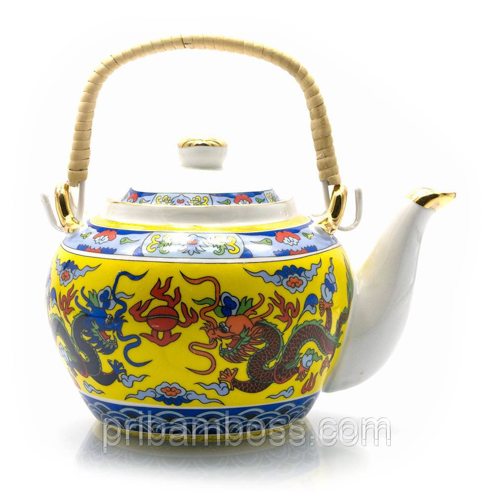 """Чайник фарфор с бамбуковой ручкой (750мл.) """"Драконы"""""""