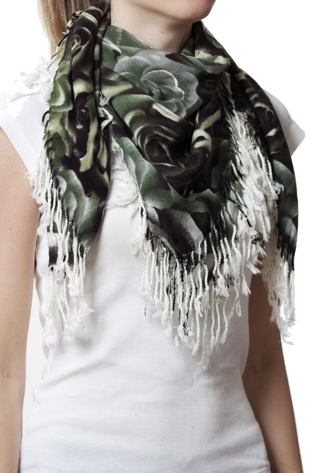 Модный кашемировый платок с принтом розы зеленый 1