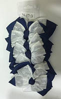 Заколка бантик синьо-білий фатін BA-077-24