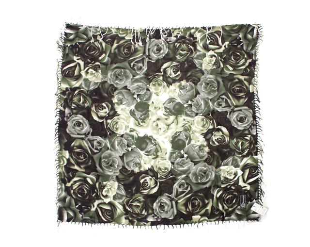 Модный кашемировый платок с принтом розы зеленый 2