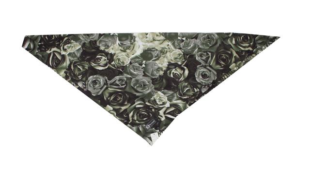 Модный кашемировый платок с принтом розы зеленый 3