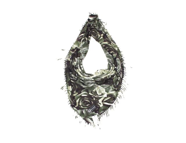 Модный кашемировый платок с принтом розы зеленый 4