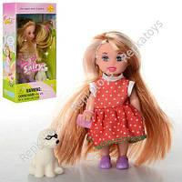 Кукла Defa длинные волосы, 10 см с собачкой, 2 вида, в коробке (ОПТОМ) DEFA 6009
