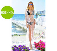 Кружевная пляжная туника белый