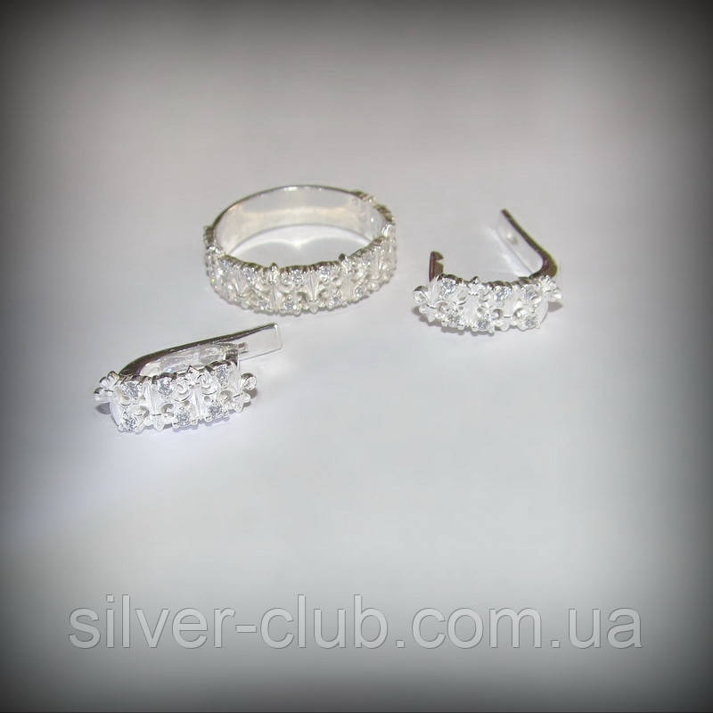 971eecec7b5e 12055 Серебряный комплект Диана - кольцо и сережки 925 пробы от украинского  производителя
