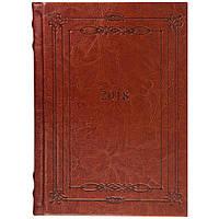 Ежедневник А5 датированный 2018 Buromax Saga, коричневый (кремовый блок) BM.2118-19