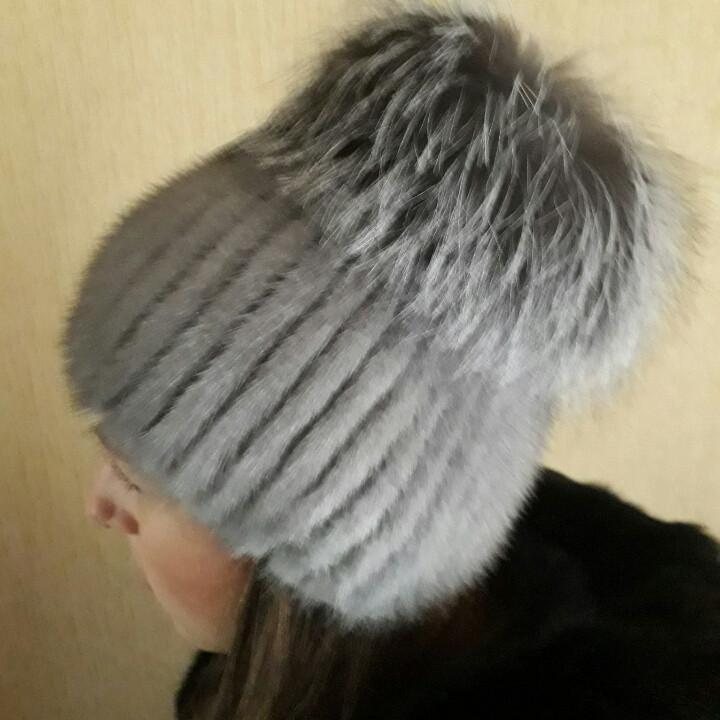 женская вязаная шапка из меха норки и чернобурки продажа цена в
