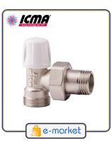 Кран радиаторный нижний угловой 1/2 - 24х1,5 ICMA. Арт. 827
