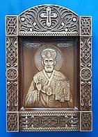 """Икона Николай Чудотворец в киоте """"Б"""" (240х355х36)"""
