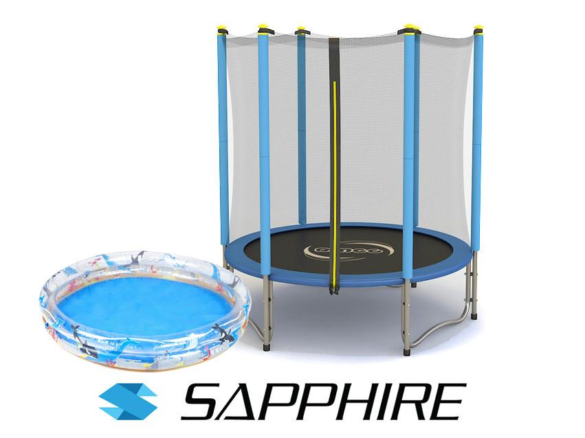 Батут c сеткой  SAPPHIRE, диаметр 140 см + Подарок