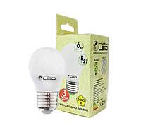Светодиодная лампа Е27, 6W (Шарик), 3000К