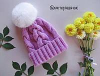 Вязанная шапка с натуральным помпоном
