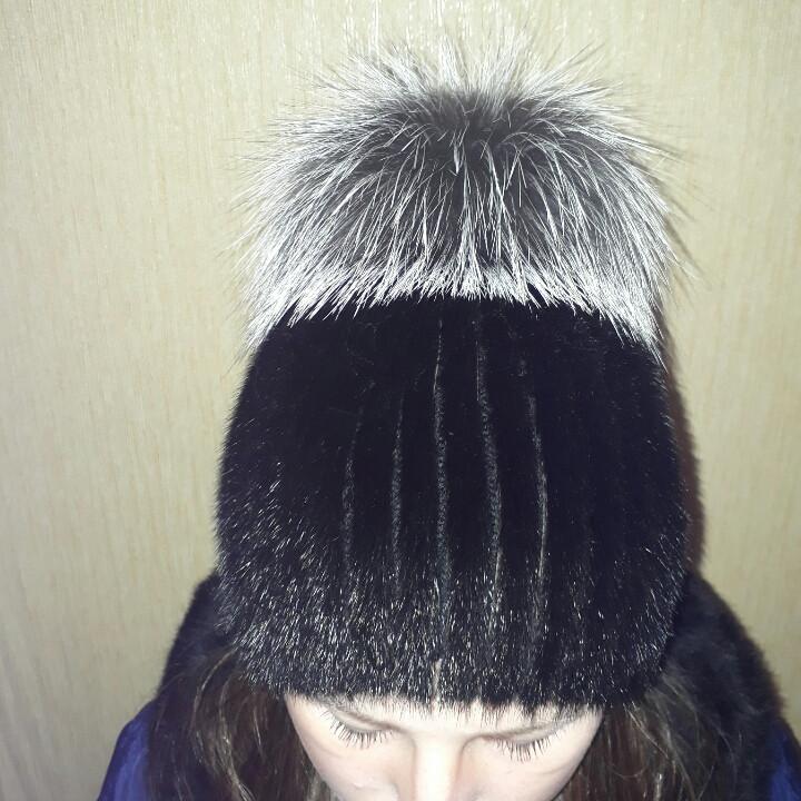 Женская вязаная шапка из меха норки и чернобурки: продажа ...