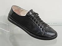 Кожаные женские туфли на шнуровке черные, фото 1