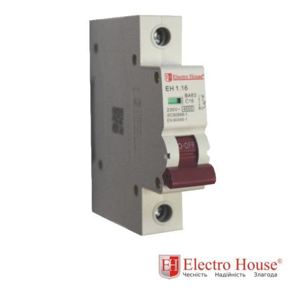 Автомат однополюсный 16A, 4,5kA Electro House