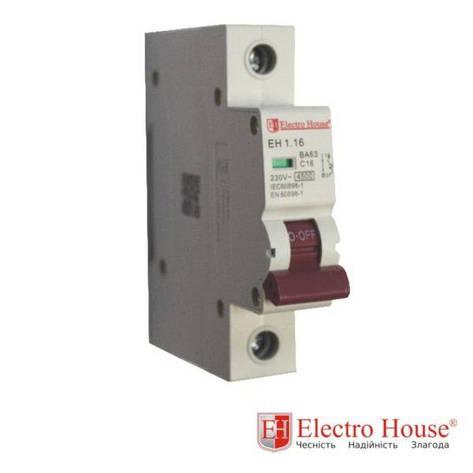 Автомат однополюсный 16A, 4,5kA Electro House, фото 2