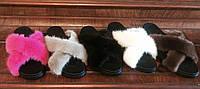Женские кожаные шлепки-тапки с натуральным мехом НОРКИ