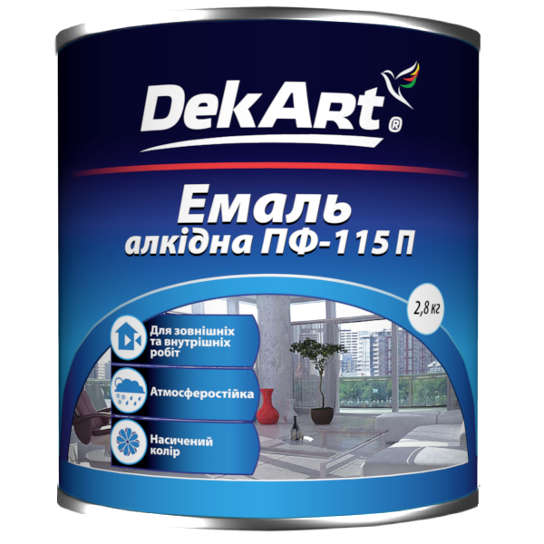Эмаль алкидная  DekArt ПФ-115П, ярко-зеленая 2,8 кг