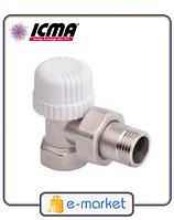 Угловой терморегулирующий вентиль простой регулировки ICMA 1\2 - 28х1,5. Арт. 774. Италия