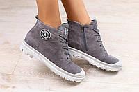 Женские высокие кеды-полуботинки, серые, замшевые, на шнурках