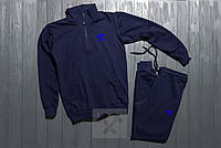 Адидас Adidas спортивный костюм на молнии темно синий размер ХЛ