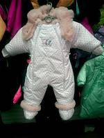 Детский комбинезон трансформер для новорожденных зимний (белый в горошек)