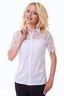 Белая блуза с кружевом