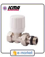 Прямой терморегулирующий вентиль с ручным и термостатическим управлением ICMA 1\2 - 28х1,5. Арт. 975. Италия