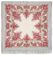 Лариса 322-6, павлопосадский платок шерстяной (с просновками) с шелковой бахромой   Первый сорт    СКИДКА!!!