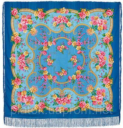Пелагея 1544-13, павлопосадский платок шерстяной (с просновками) с шелковой бахромой
